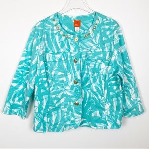 Hearts of Palm Turquoise Bead Embellished Jacket A
